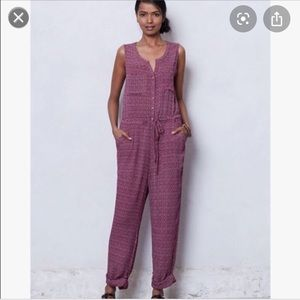 Anthropologie Lilka pink Ikat jumpsuit